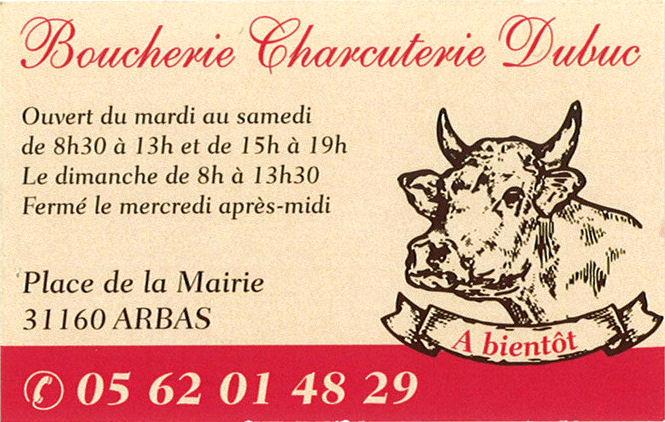 Carte de la Boucherie Charcuterie Dubuc