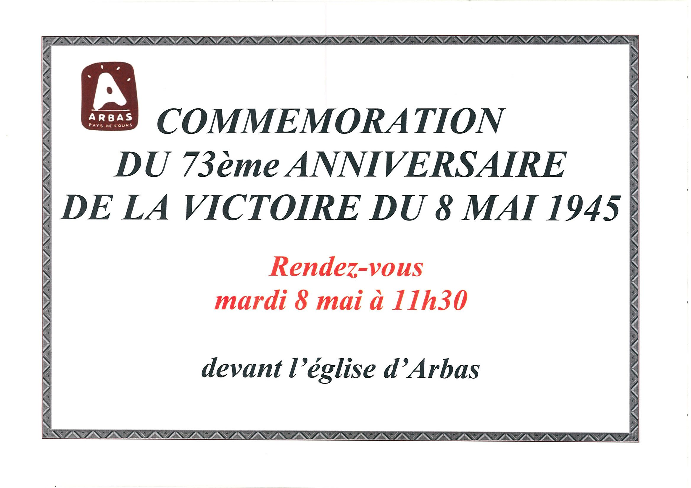 Annonce de la commemoration du 8 mai 1945
