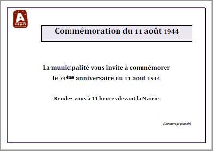 Commémoration du 11 août 1944