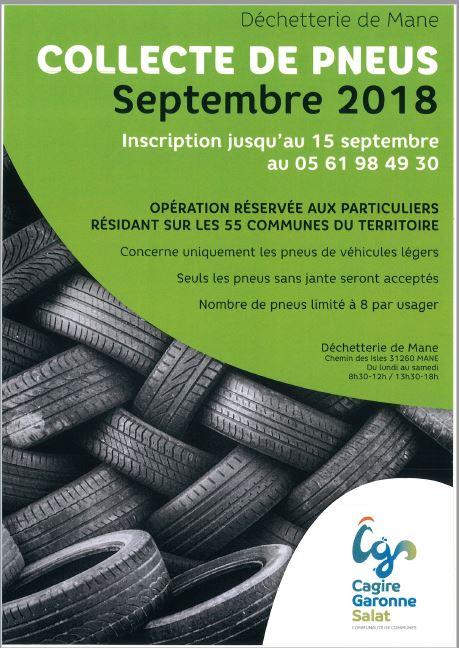 Affiche collecte de pneus