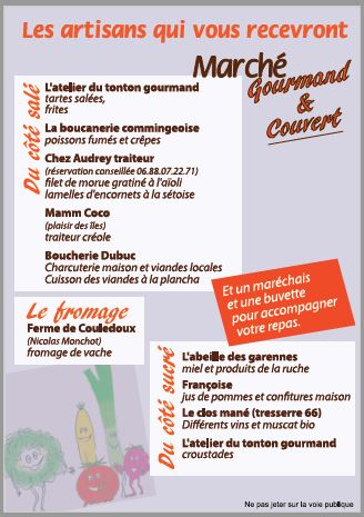 Verso flyer Marché Gourmand