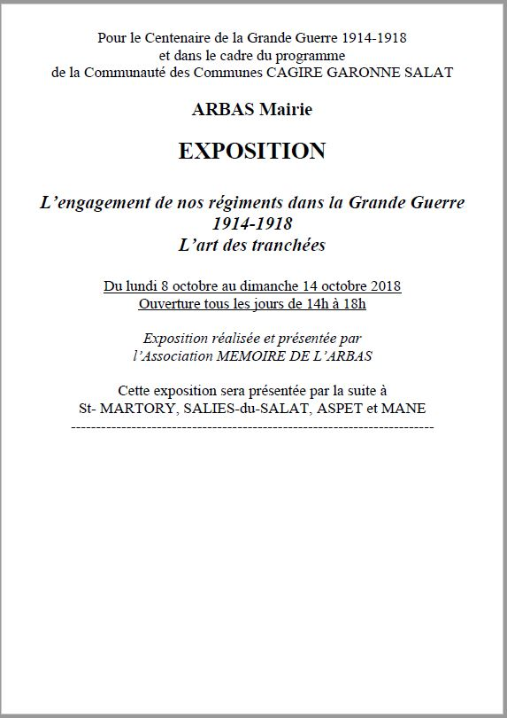 Annonce exposition Grande Guerre