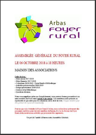 Convocation AG Foyer Rural 2018